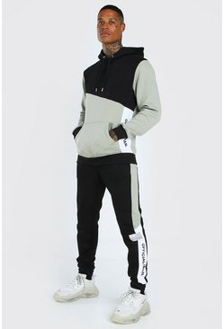 Sage Official Colour Block Hooded Tracksuit