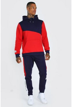 Official Colour Block Hooded Tracksuit, Red
