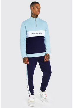 Sage Official Colour Block Half Zip Tracksuit