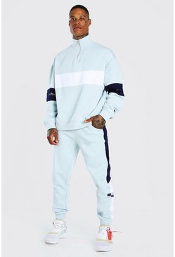 Sky grey Loose Fit MAN Colour Block Half Zip Tracksuit