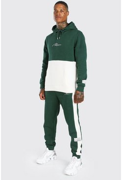 Dark green MAN Signature Colour Block Hooded Tracksuit