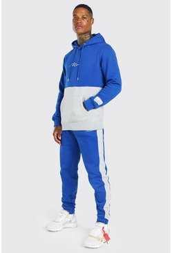 MAN Signature Colour Block Hooded Tracksuit, Blue
