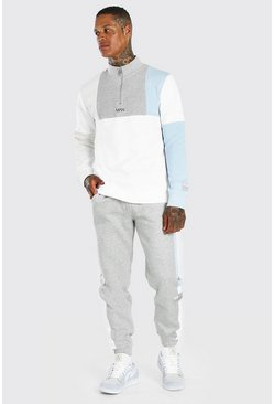 Grey marl MAN Dash Colour Block Half Zip Tracksuit