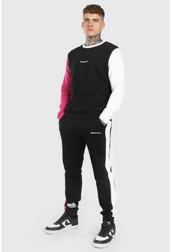 Pink MAN Colour Block Sweater Tracksuit