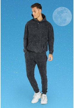 Charcoal Tall Official MAN Slim Acid Wash Tracksuit