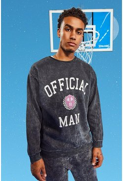 Tall Official MAN Oversized Varsity Sweater, Grey