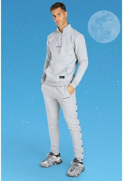 Grey marl Tall Official MAN Side Popper Tracksuit