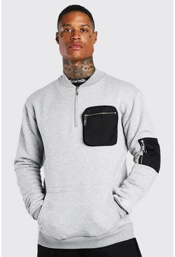 Grey Utility Pocket Sweatshirt