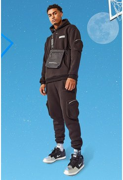 Black Tall Hooded International Utility Pocket Tracksuit