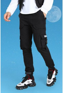 Black Tall Slim Twill Cargo Trouser With Buckles