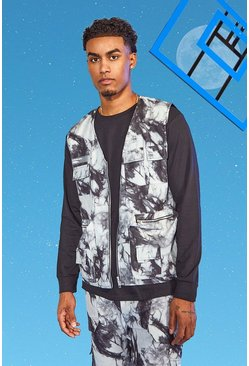 Charcoal Tall Twill Tie Dye Utility Vest
