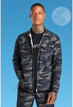Twill Camo Harrington Jacket With Bungee Cords