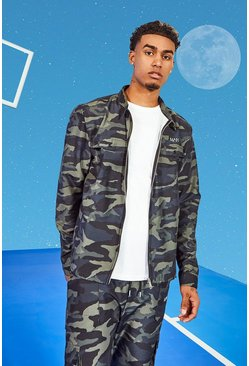 Tall Twill Camo Harrington Jacket With Bungee Cords