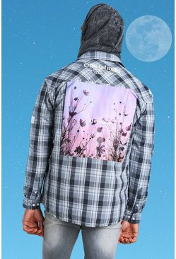 Charcoal Official Man Printed Flannel Overshirt