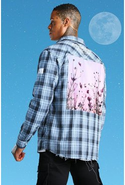 Blue Official Man Printed Flannel Overshirt