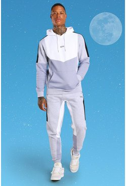 Grey MAN Colour Block Hooded Tracksuit