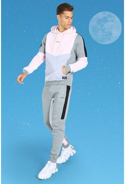 Charcoal Tall MAN Colour Block Hooded Tracksuit
