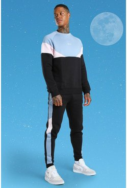 Black MAN Colour Block Sweater Tracksuit