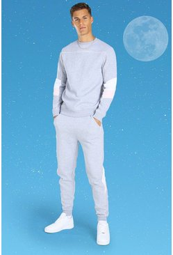 Grey Tall Official MAN Colour Block Sweater Tracksuit