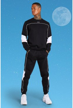Sweater-Jogginganzug im Colorblock Design und Official MAN-Print, Schwarz