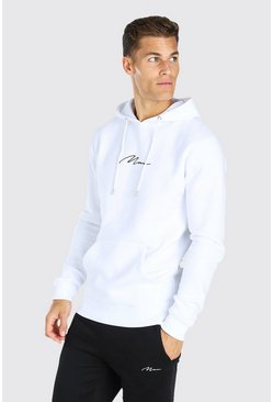 Tall MAN Signature Embroidered Hoodie, White