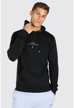 Black Tall MAN Signature Embroidered Hoodie