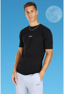 Black Tall Original MAN Embroidered T-Shirt