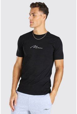Black Tall MAN Signature Embroidered T-Shirt