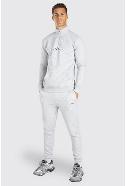 Tall MAN Signature Half Zip Tracksuit, Grey marl