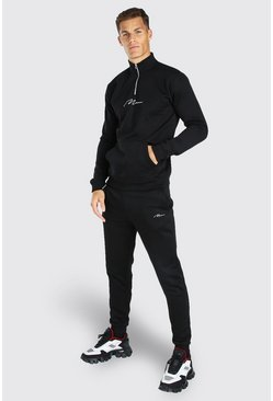 Tall MAN Signature Half Zip Tracksuit, Black