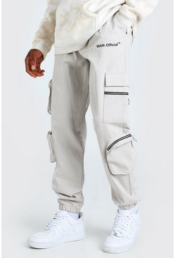 MAN Official Cargo Trouser With Zip Pockets, Stone