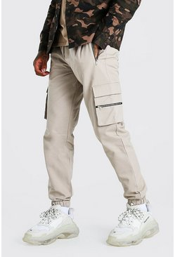 Stone Twill Multi Zip Pocket Cargo Pants