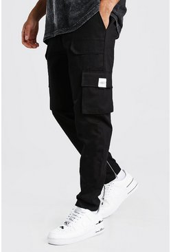 Black Utility Pocket Cargo Jogger Trouser With Zip Hem