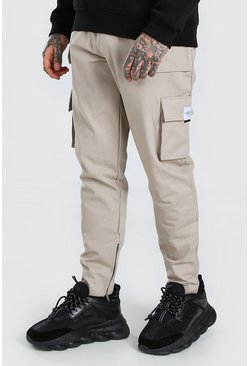 Utility Pocket Cargo Jogger Trouser With Zip Hem, Stone