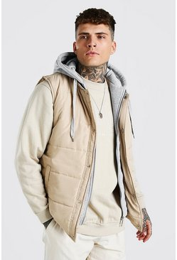 Padded Gilet With Jersey Hood, Stone