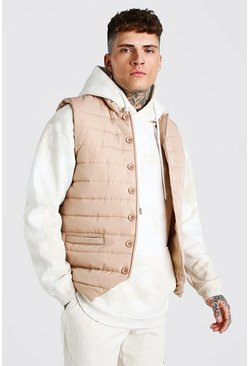 Smart Button Down Padded Gilet, Stone