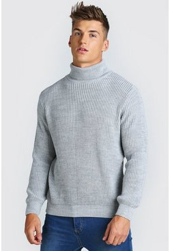 Grey marl Chunky Ribbed Roll Neck Jumper