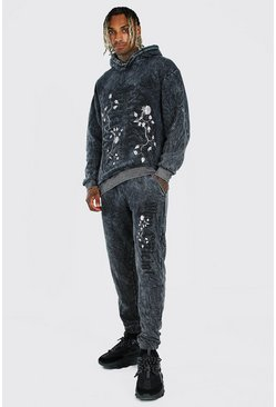 Charcoal Oversized Gothic Acid Wash Hooded Tracksuit