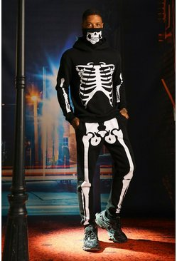 Black Skeleton Print Snood Hooded Tracksuit