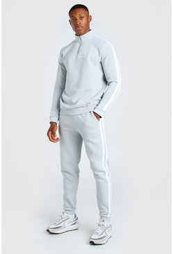 Dark grey MAN Signature Half Zip Tracksuit With Tape