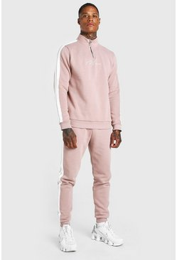 Dusky pink MAN Signature Half Zip Tracksuit With Tape
