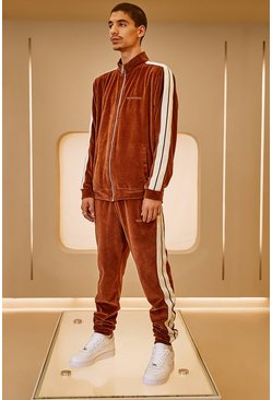 Velour MAN Official Tape Track Top And Jogger, Brown