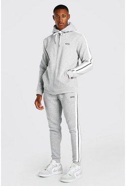 Grey marl Original MAN Zip Hooded Tracksuit With Tape