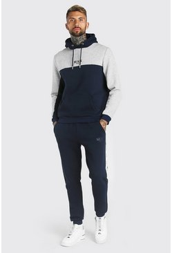 Navy MAN Colour Block Hooded Tracksuit with Tape