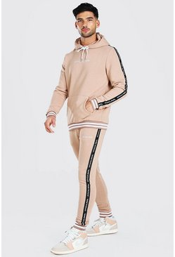 Taupe Official MAN Tape Hooded Tracksuit With Rib