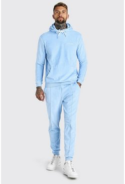 Blue Official MAN Hooded Tracksuit in Towelling