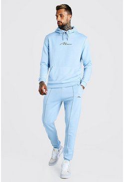 Dusty blue MAN Scuba Hooded Tracksuit with Pintucks