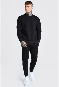 MAN Extended Neck Tracksuit with Back Print, Black