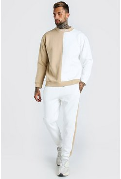 Spliced MAN Official Extended Neck Tracksuit, Taupe