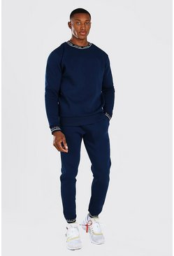 MAN Printed Rib Sweater Tracksuit, Navy